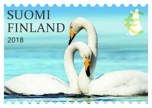 Kaulailevat joutsenet ylsivät kolmanneksi kauneimman postimerkin äänestyksessä.