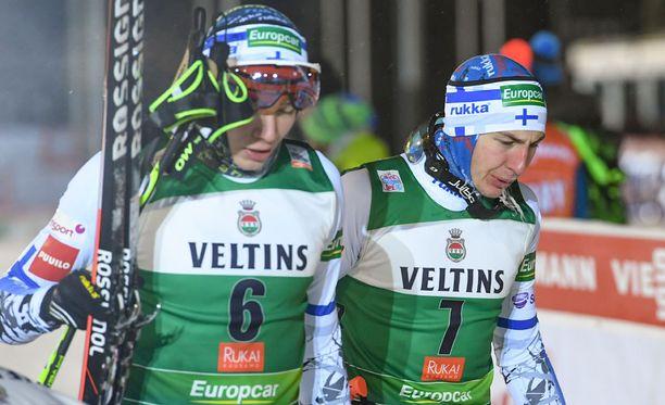 Eero Hirvonen ja Ilkka Herola olivat mainiossa hiihtovauhdissa.