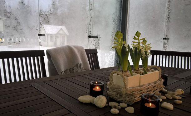 Lasitettu terassi pukeutuu talviasuun jouluisilla kukilla ja kynttilöillä.