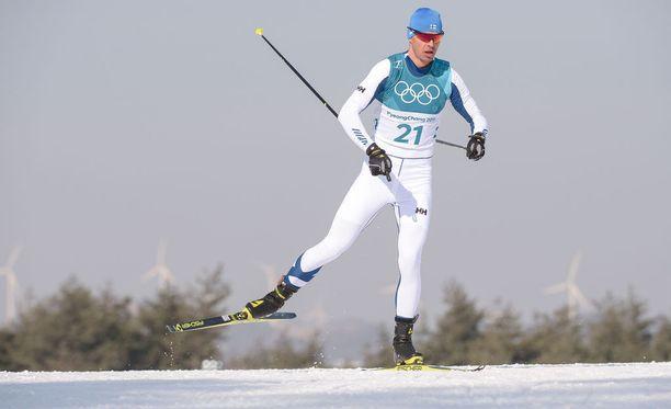 Perttu Hyvärinen oli 35:s perjantaina 15 kilometrin vapaan etenemistavan olympiastartissa.