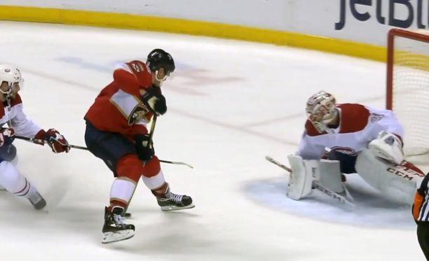 Tästä se lähtee. Barkovin ottelun toinen maali Canadiensia vastaan oli poikkeuksellisen hieno.