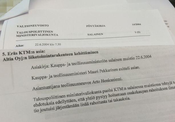 Valtioneuvoston kanslia luovutti Iltalehdelle otteen hallituksen talouspoliittisen ministerivaliokunnan salaisesta pöytäkirjasta 22. kesäkuuta 2004.
