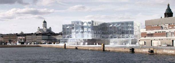 Suunniteltu loistohotelli mereltä päin nähtynä.