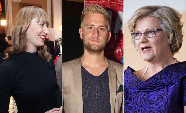 Eveliina Heinäluoma, Joel Harkimo ja Minna-Maaria Sipilä olivat ehdolla kuntavaaleissa.