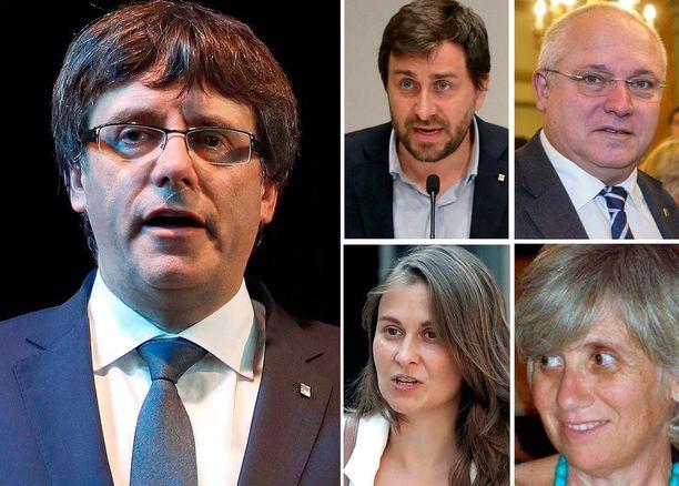 Katalonian erotettu presidentti Carles Puigdemont ja hallituksen jäsenet Antoni Comin (ylh. vas), Lluis Puig (ylh. oik,), Meritxell Serret (alh. vas.) sekä Clara Ponsati lähtivät maanantaina Kataloniasta Brysseliin.