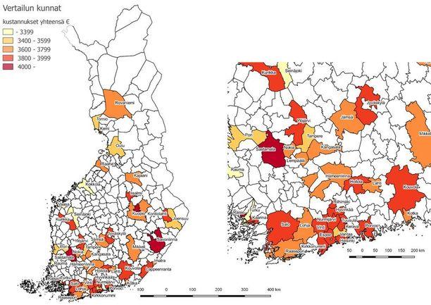 Kartoilla värjätty vertailussa olevat kunnat kokonaiskustannusten mukaan luokiteltuna (e/vuosi). Valkoisella pohjalla olevista kunnista tietoa ei ole saatavilla.