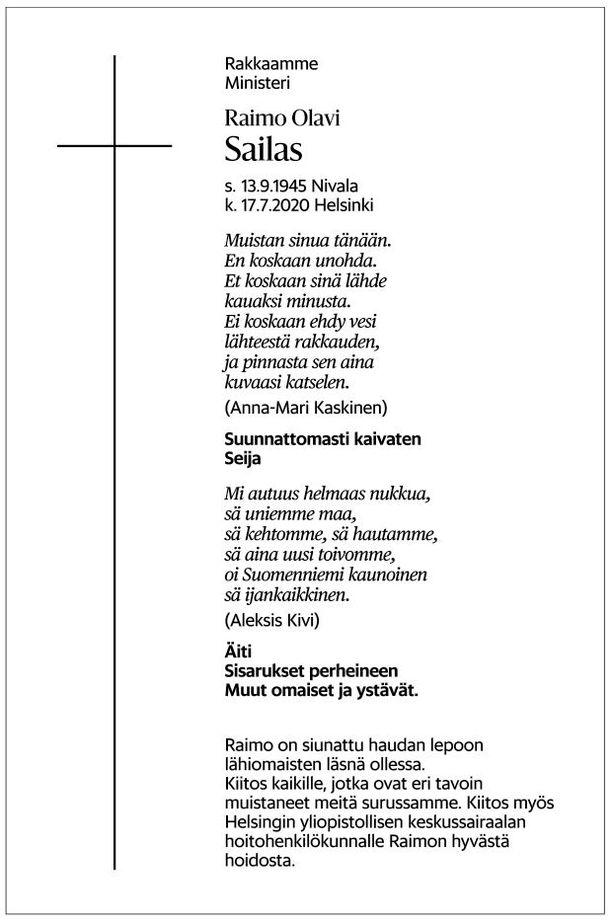 Raimo Sailaksen kuolinilmoitus julkaistiin sunnuntaina 9.8. Helsingin Sanomissa.