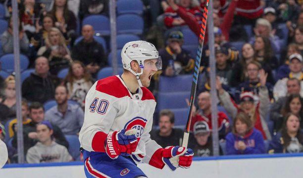 Montreal Canadiensin hyökkääjällä Joel Armialla oli aihetta juhlaan illan ottelussa Buffalo Sabresia vastaan. Armia arkistokuvassa.