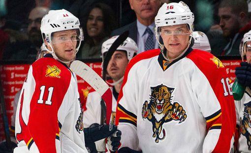 Jonathan Huberdeau ja Aleksander Barkov pelaavat yhdessä Florida Panthersin ykkösketjussa.