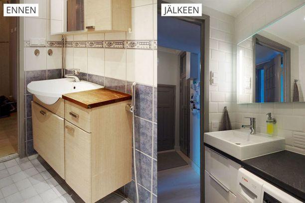 Kylpyhuoneessa uusittiin laatoitus ja kalusteet.