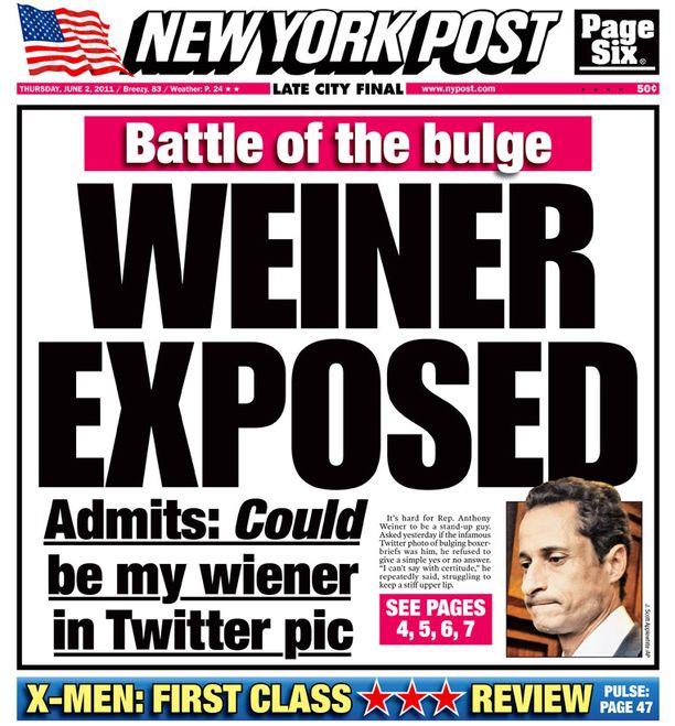 """New York Post viittasi erektiokuvaan ja toiseen maailmansotaan otsikollaan """"pullistuman taistelu""""."""