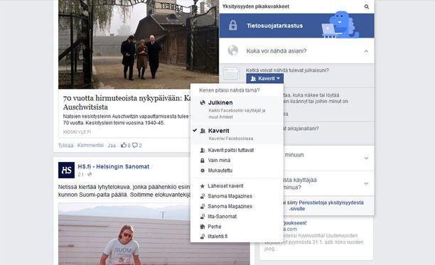 Yksityisyysasetukset löytyvät Facebookin tietoturvavalikosta.