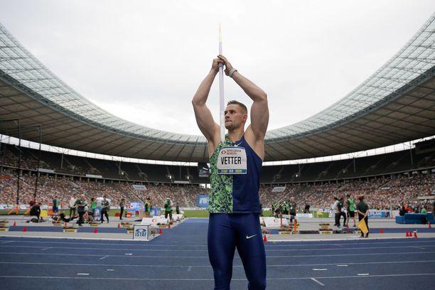 Johannes Vetter puhkaisi 90 metriä Minskissä, missä hän edustaa Euroopan joukkuetta. Arkistokuva.