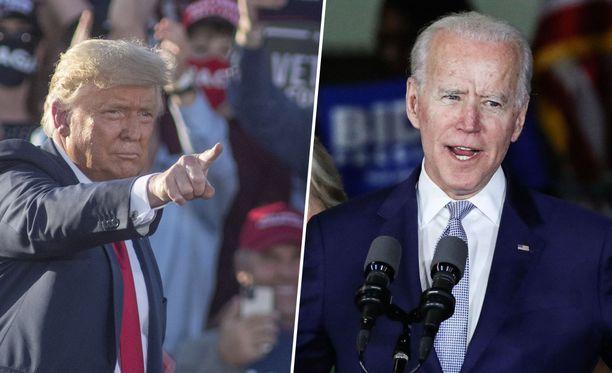 Donald Trump ja Joe Biden kamppailevat USA:n presidentin paikasta.