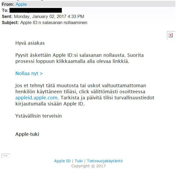Huijaus alkaa tällaisesta sähköpostiviestistä.