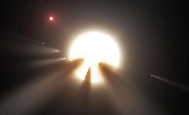 Nasan näkemys siitä, miten komeetat voisivat himmentää oudosti käyttäytyvää tähteä.