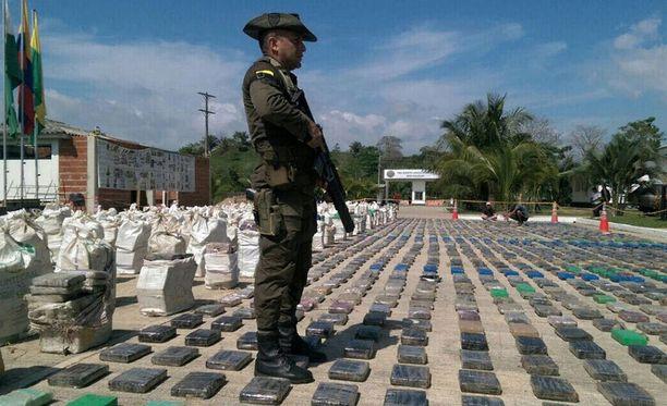Poliisi takavarikoitujen kokaiinipakettien vahdissa lähellä Turbon kaupunkia.