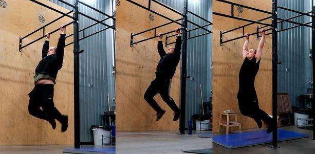 Markku Sorosuo tekemässä samaa treeniä, kun painoa on 106, 96 ja 75 kiloa.