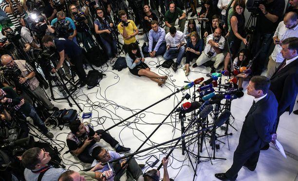 Venäjän olympiakomitean puheenjohtaja Aleksandr Zhukov kommentoi dopingsotkua medialle torstaina.