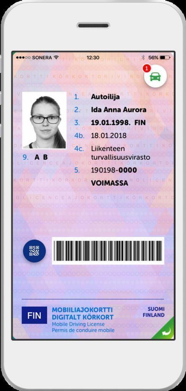 Tältä näyttäisi mobiiliajokortti.