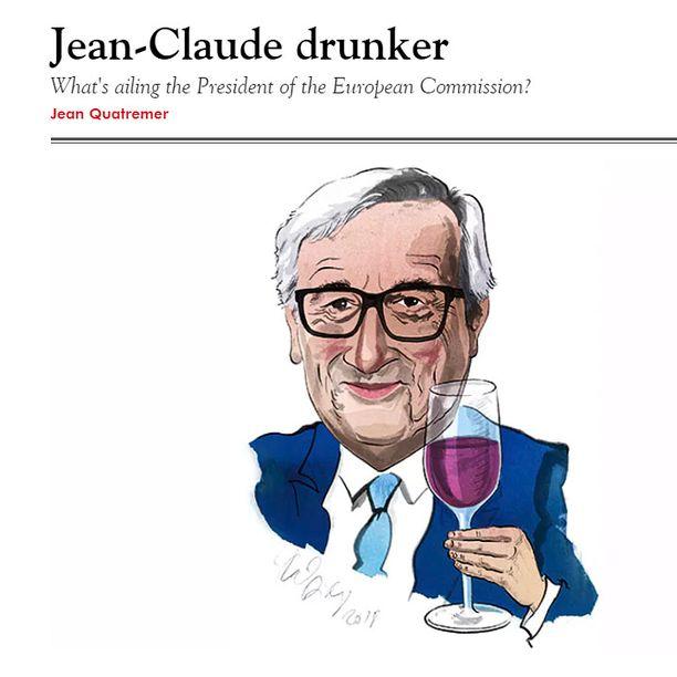 """Brittiläinen The Spectator -lehti otsikoi EU-komission puheenjohtajasta kertovan juttunsa """"Jean-Claude drunker""""."""