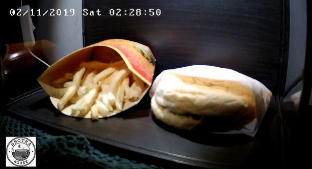Ruutukaappaus Snotra Housen lähettämästä live-videosta 10 vuotta vanhasta juustohampurilaisesta.