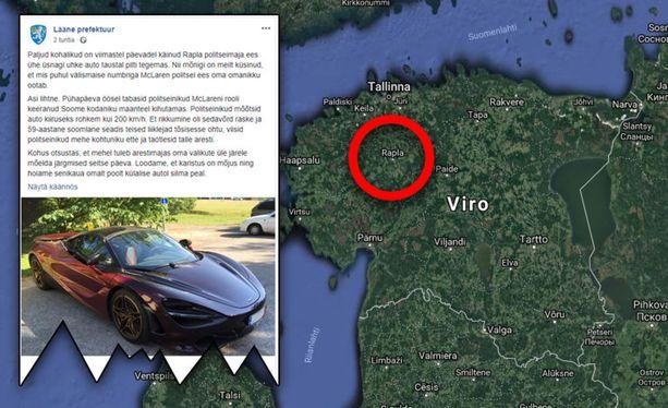 Suomalainen mies kaahasi luksusautollaan itsensä viikoksi selliin Viron Raplassa sunnuntaiyönä.
