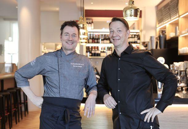 Sampo Kantele ja Alexander Gullichsen ovat enemmän kuin tyytyväisiä uuteen ravintolaansa.